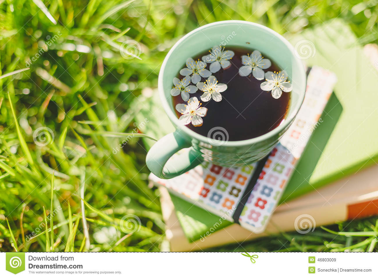 Books And Spring Tea Cup Stock Photo Image 46803009