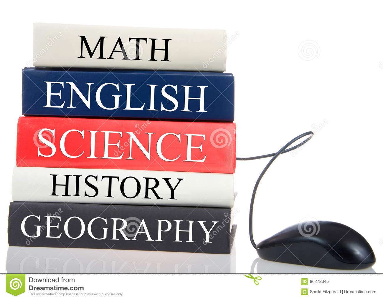 Books stacked with computer mouse coming out, school subjects