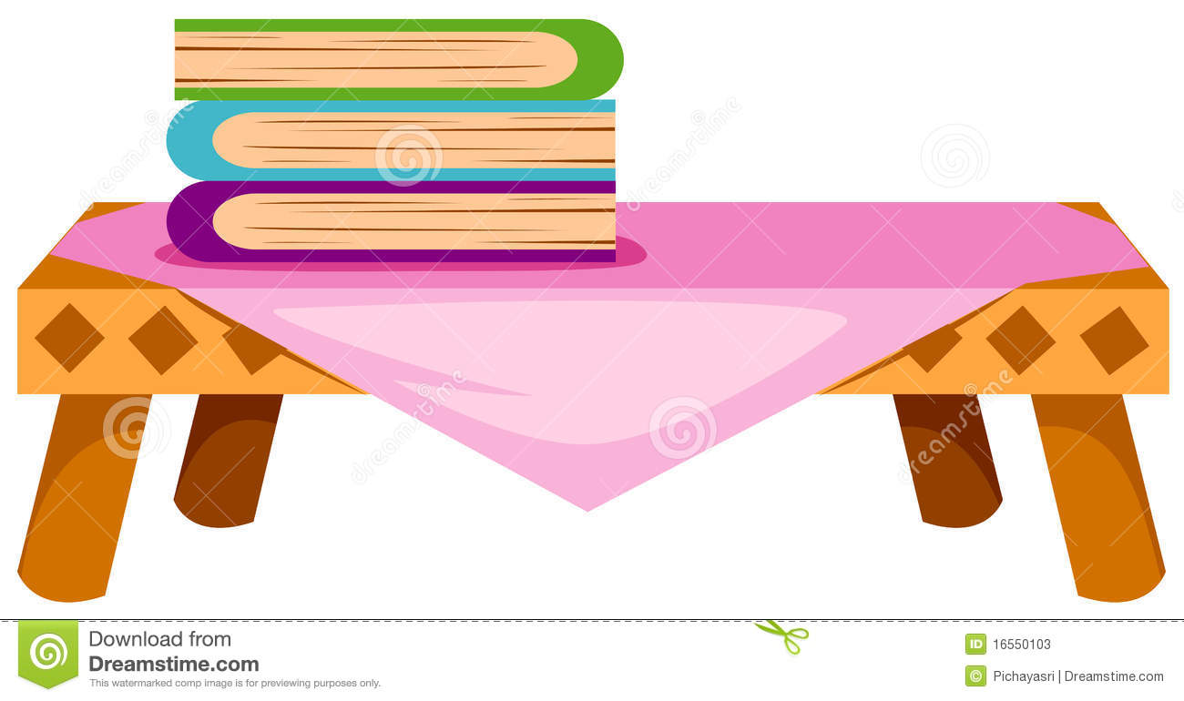 Illustration of isolated books on table on white background.