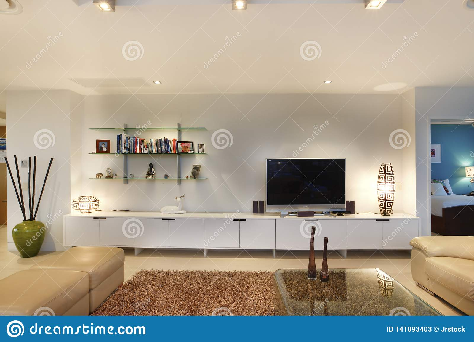 Books And Television In Living Room Stock Image Image Of Indoors Furniture 141093403