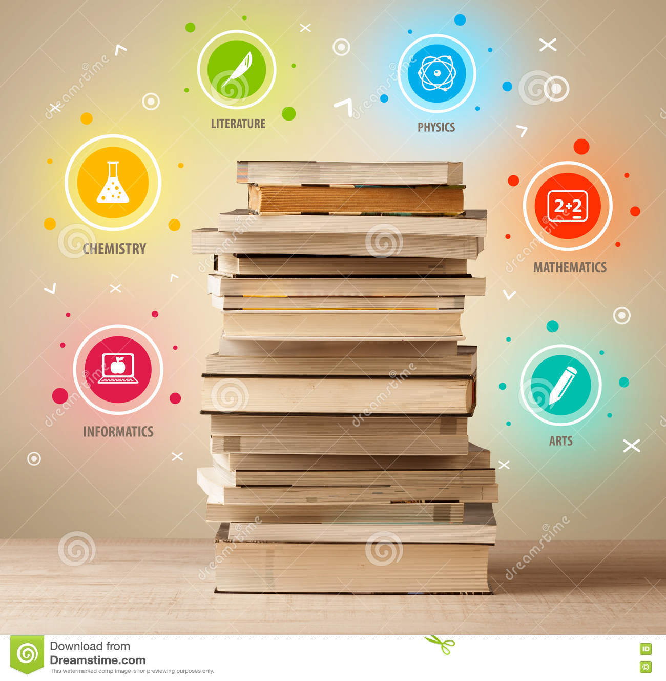 Books On Top With Colorful Symbols On Vintage Background Stock