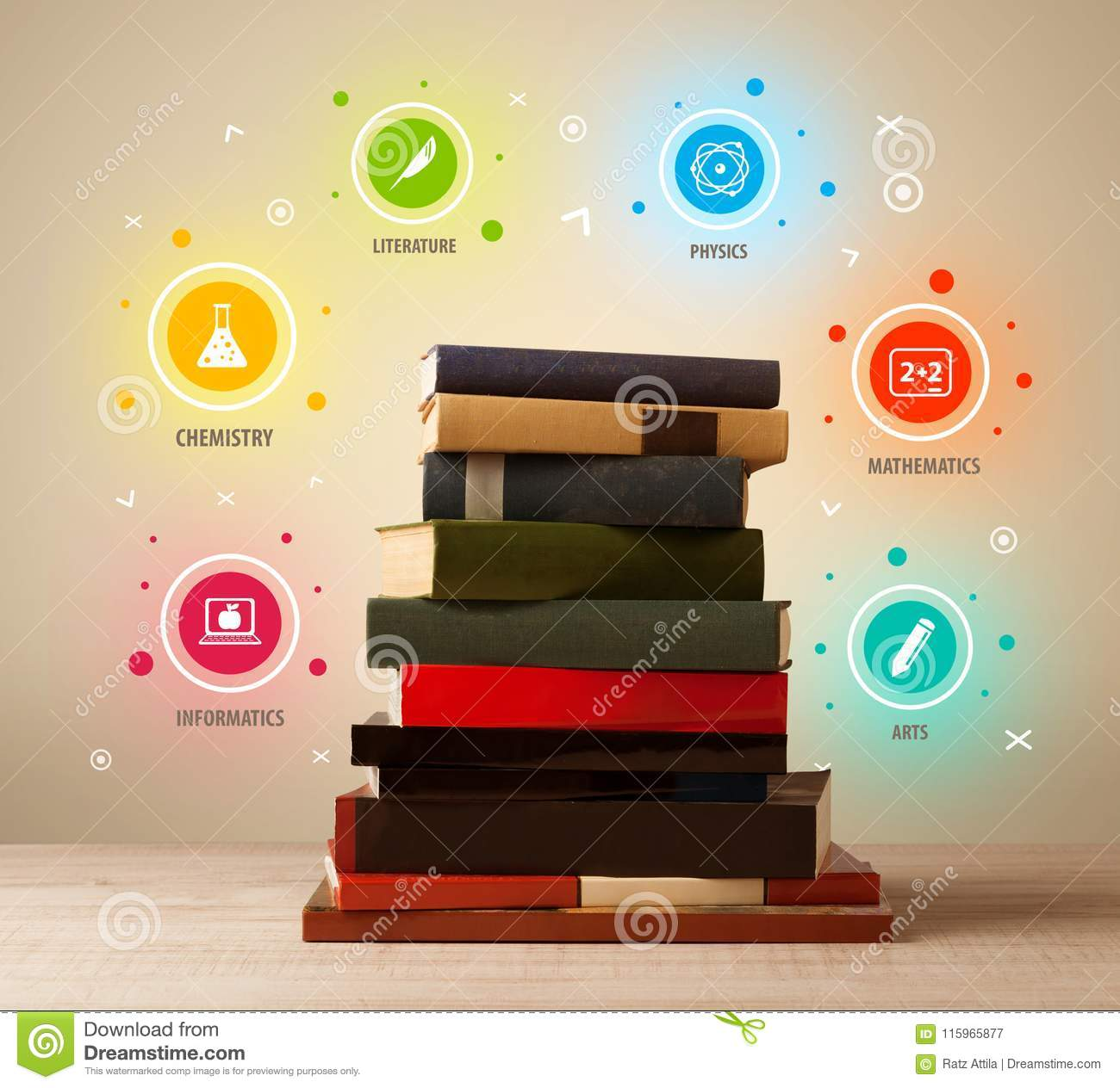 Books On Top With Colorful Symbols On Vintage Background Stock Image