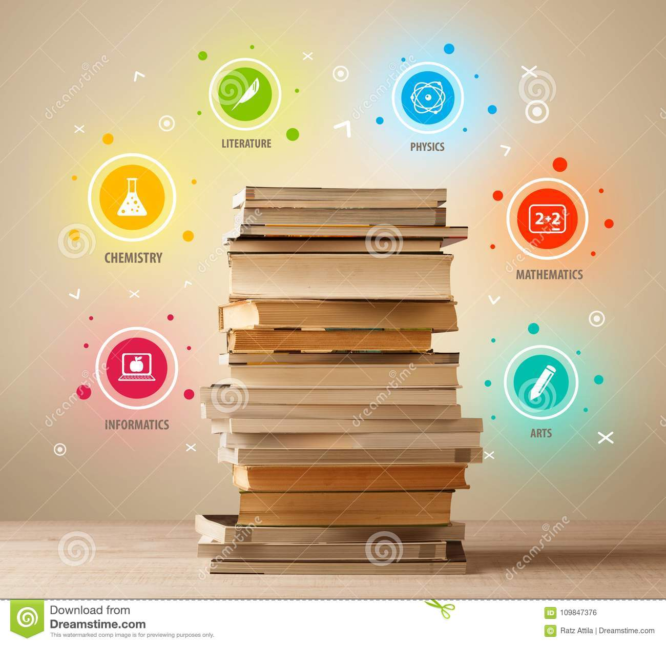 Books On Top With Colorful Symbols On Vintage Background Stock Photo
