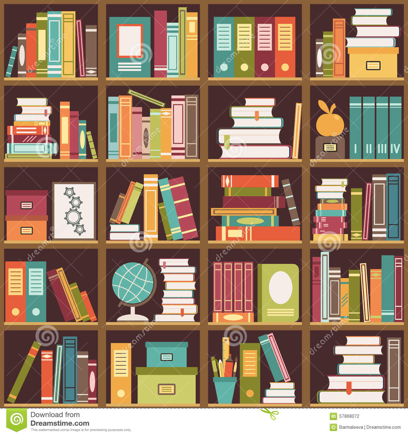 Bookshelf With Books. Seamless Background Stock Vector - Image ...