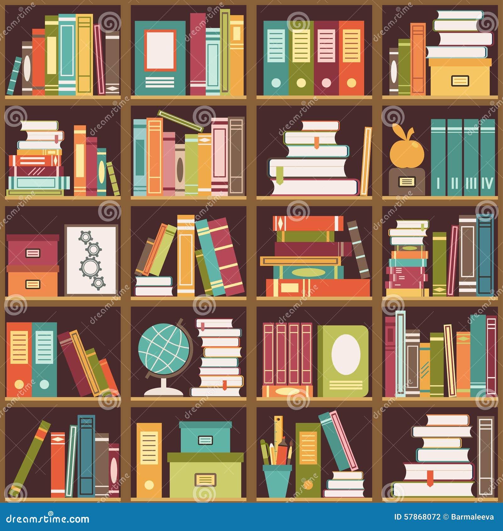 Bookshelf With Books Seamless Background Stock Vector