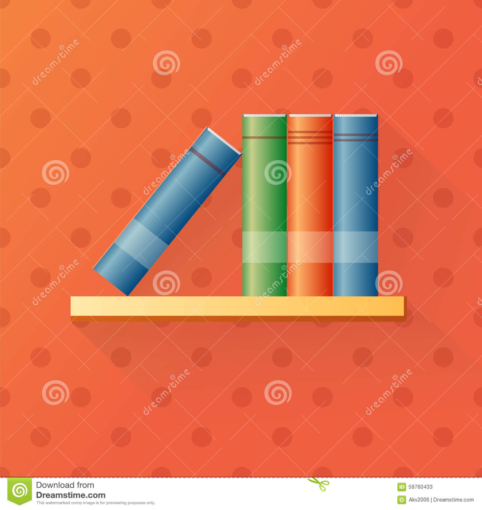 Bookshelf Cartoon Stock Vector Illustration Of Library