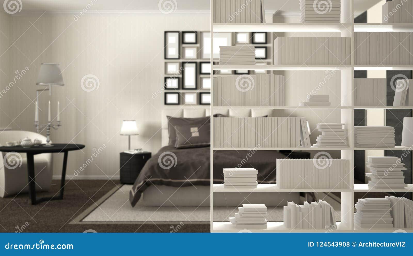 Bookshelf Close Up Shelving Foreground Interior Design Concept Modern Hotel Bedroom Stock Illustration Illustration Of Concept Bookshelf 124543908