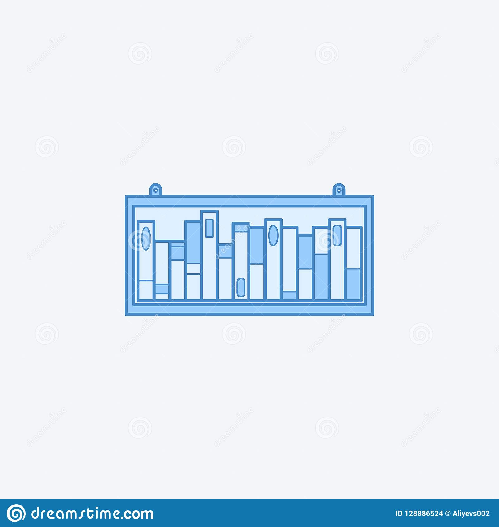 Bookshelf 2 Colored Line Icon Simple Dark And Light Blue Element Illustration Concept