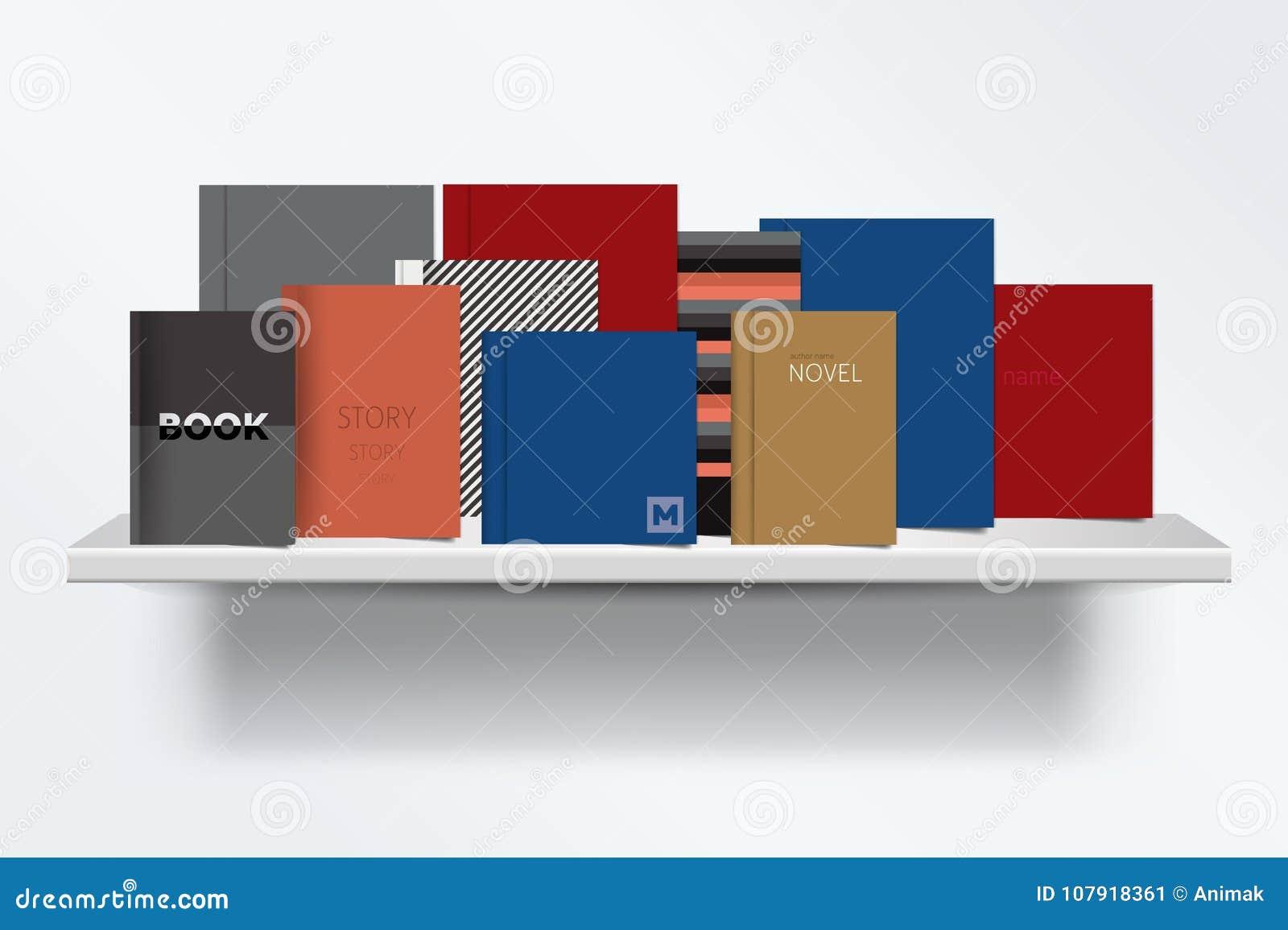 Bookshelf Frontowy widok książki pokrywy pozycja na popielatym tle z cieniami