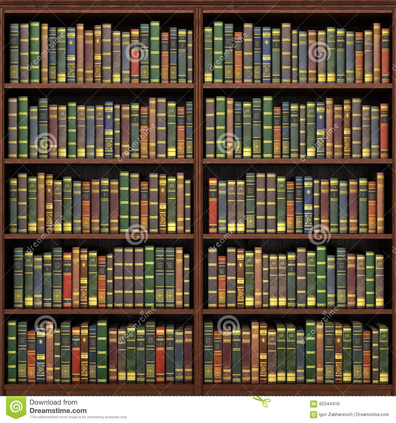 Bookshelf Full Books Background Stock Photos