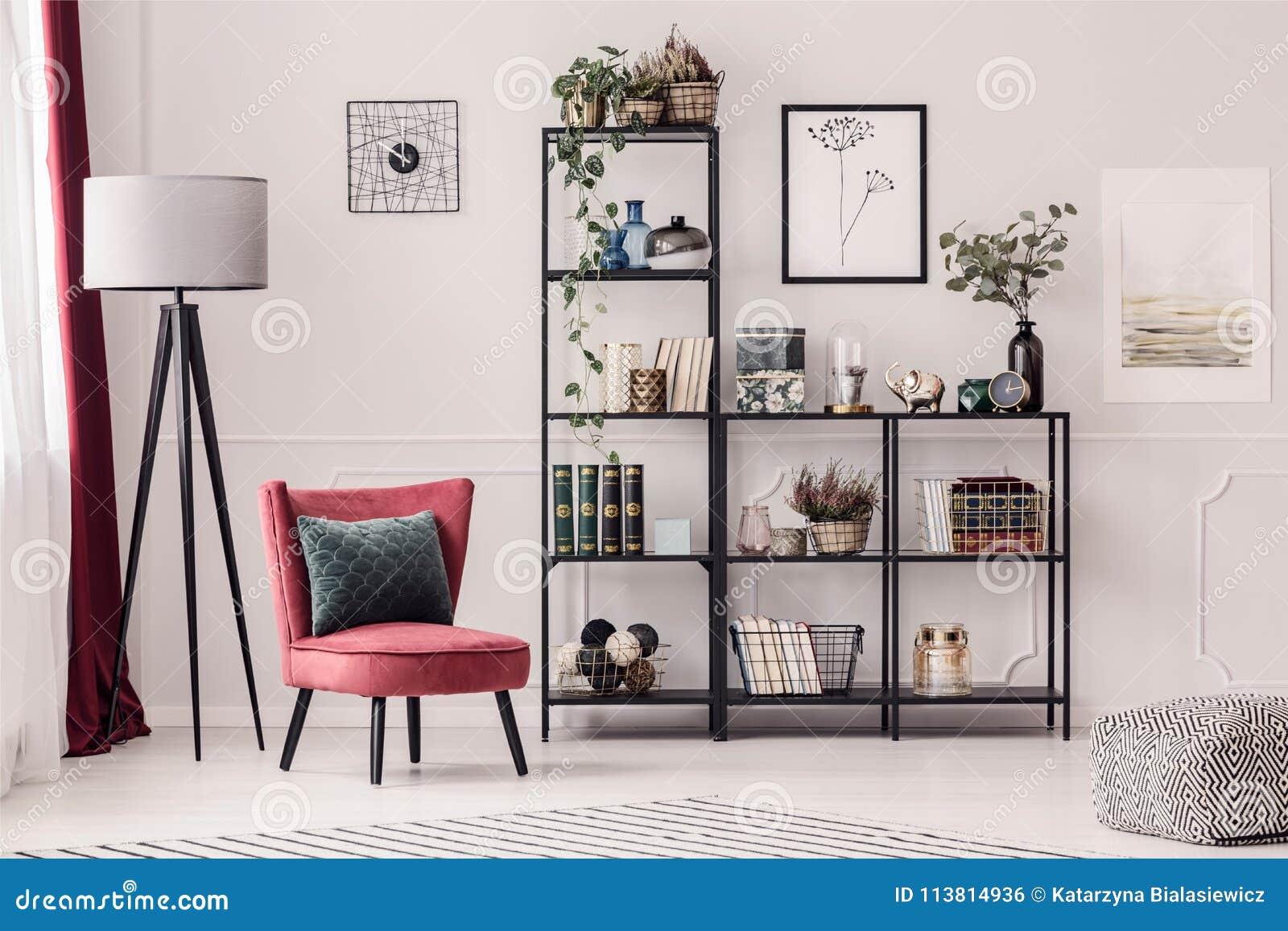 Bookshelf in living room stock photo. Image of rack - 113814936