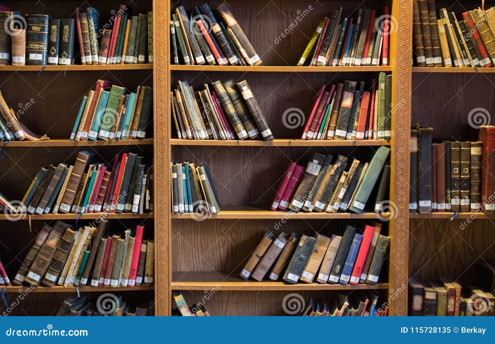 Download Bookshelf With Turkish Ottoman Handwriting Books Stock Image