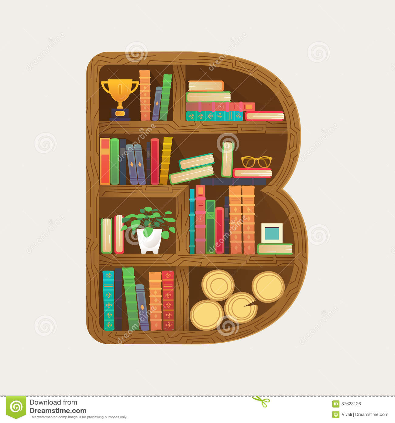 Bookshelf Print With Colorful Books And Home Everyday Things