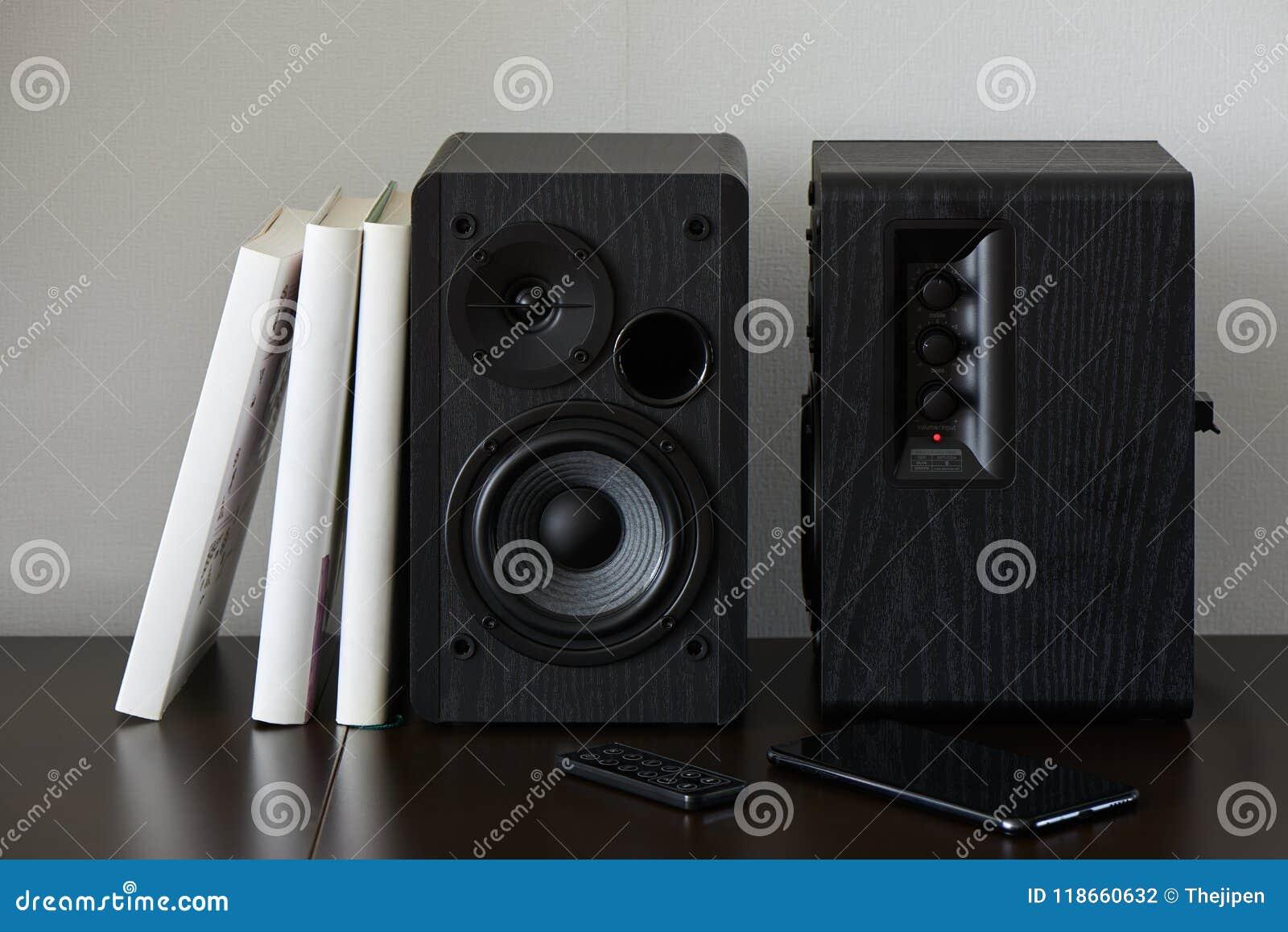 Bookshelf Speakers Stock Photo Image Of Book Smartphone