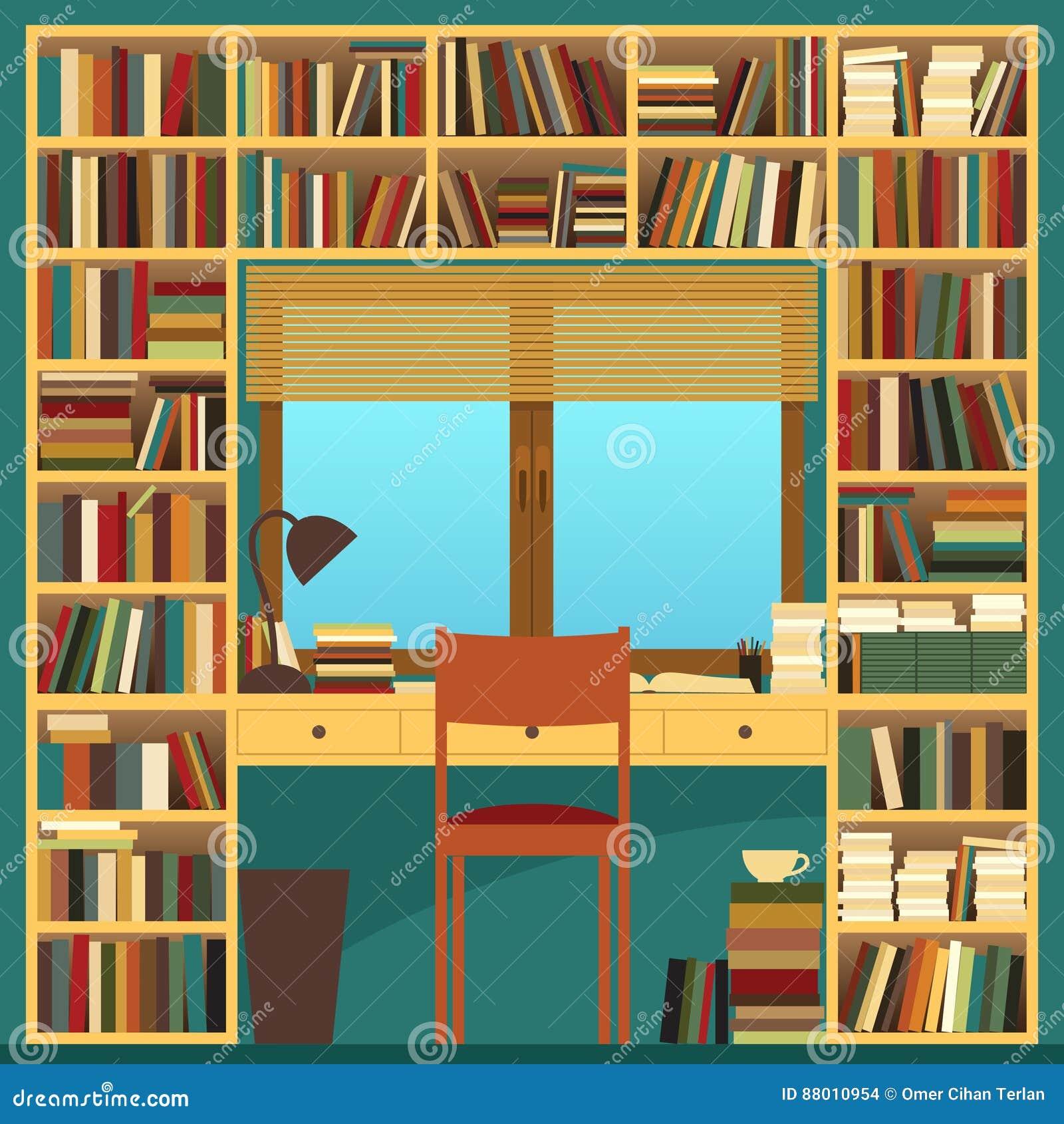 messy study desk vector illustration cartoon vector 52471385. Black Bedroom Furniture Sets. Home Design Ideas
