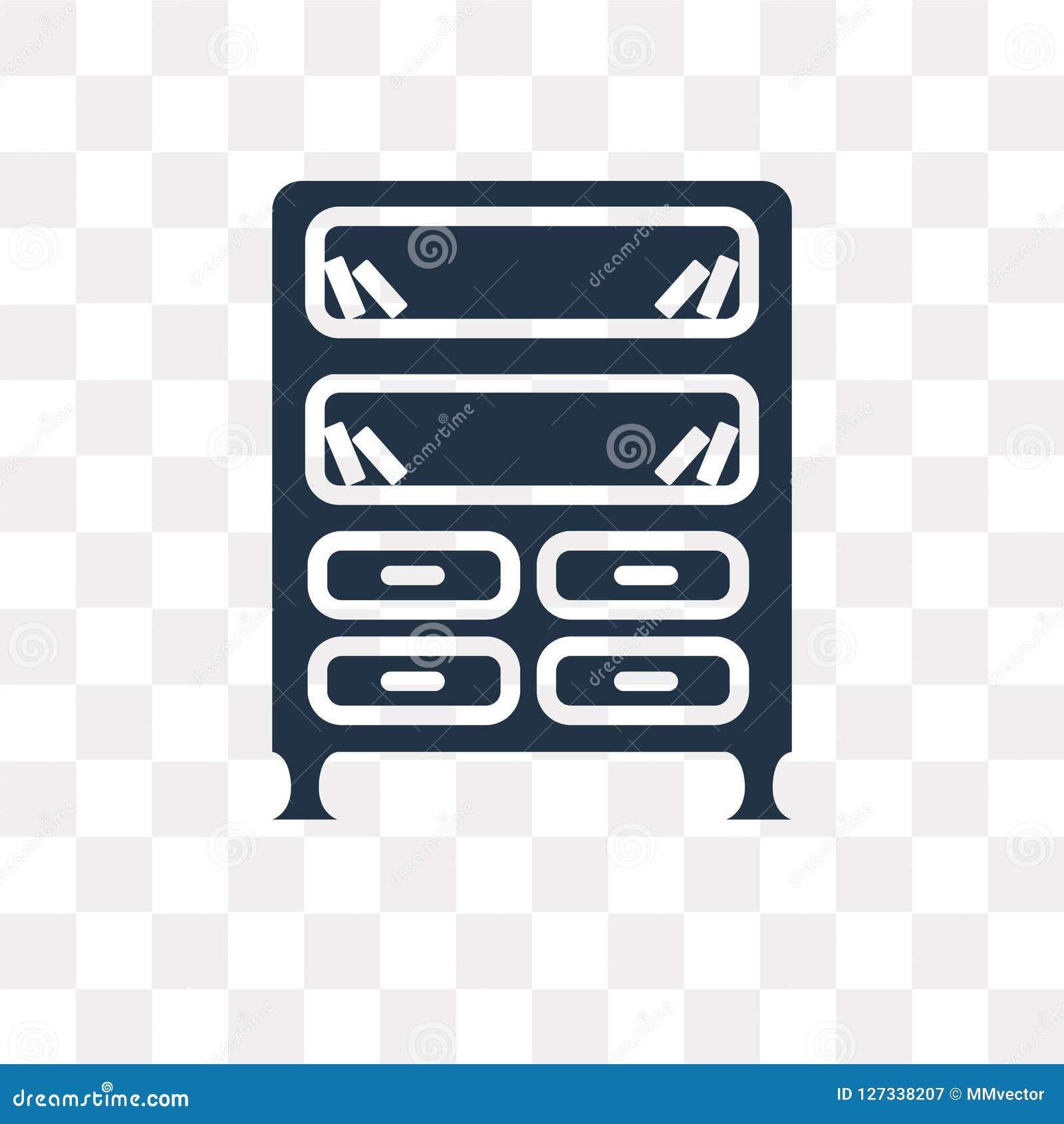 Bookshelve wektorowa ikona odizolowywająca na przejrzystym tle, książki