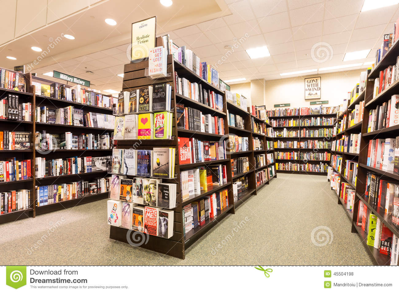 Bookshelves In A Barnes & Noble Bookstore Editorial Stock Photo ...
