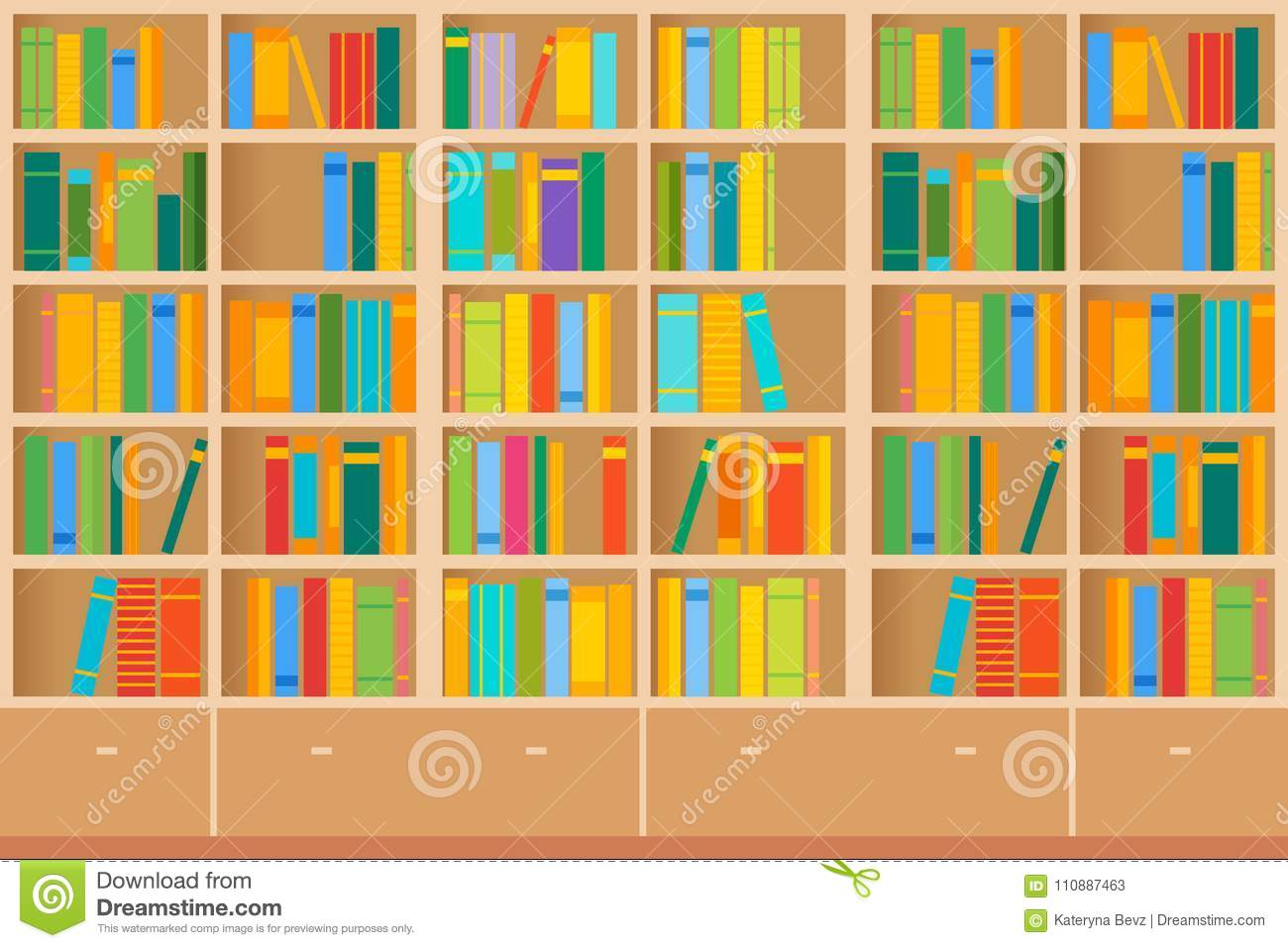 Bookshelves full of books both in the library. Vector illustration