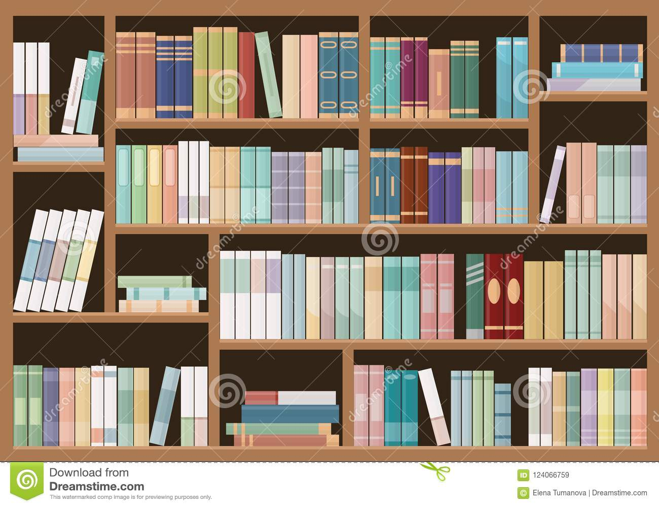 Bookshelves full of books. Education library and bookstore concept.