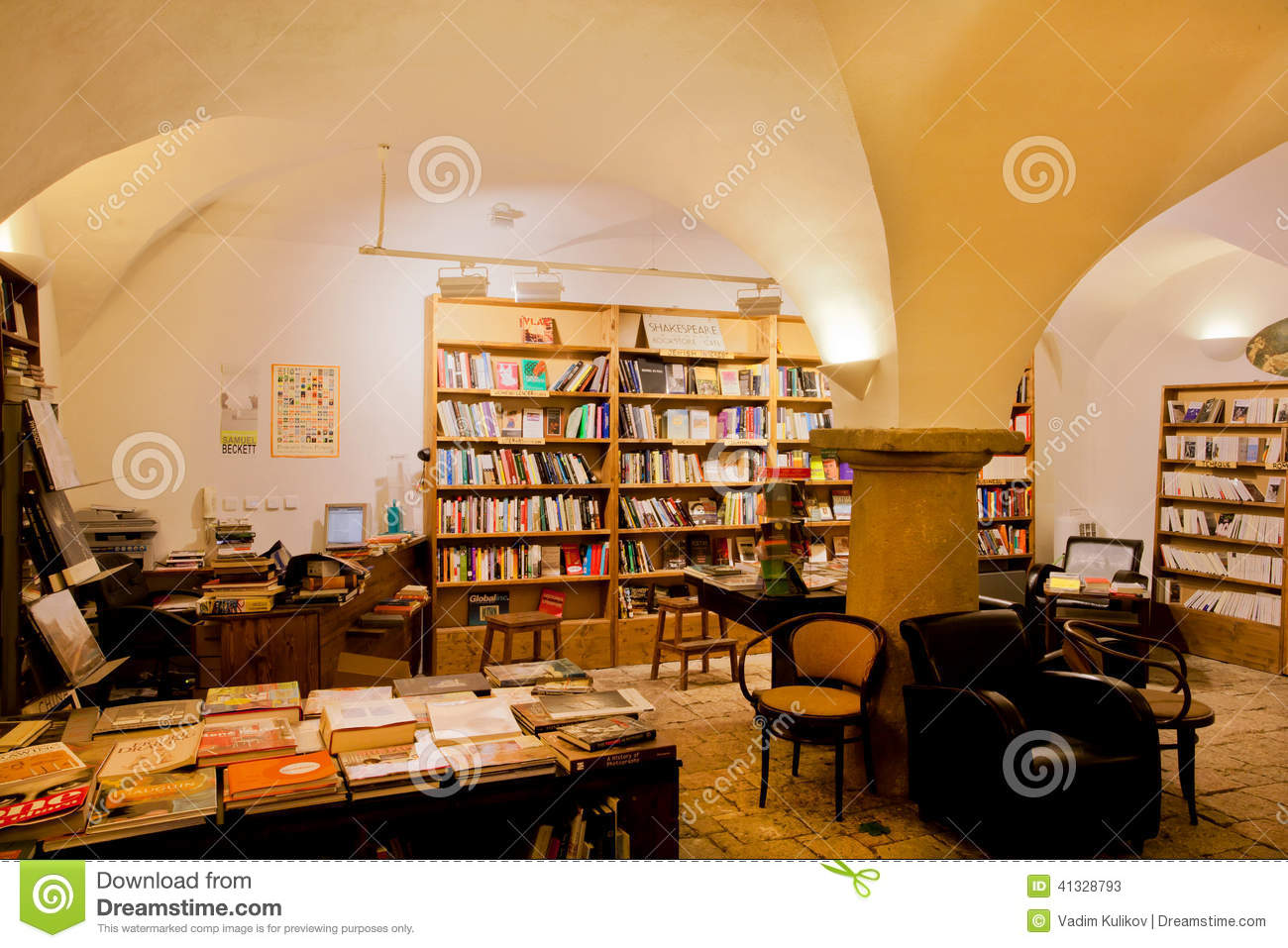 Bookstore With Bookshelves And Vintage Books Editorial Stock Photo