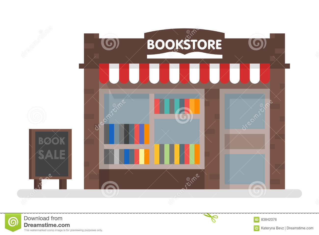 House Bookcase Bookstore Front Vector Illustration Cartoon Vector