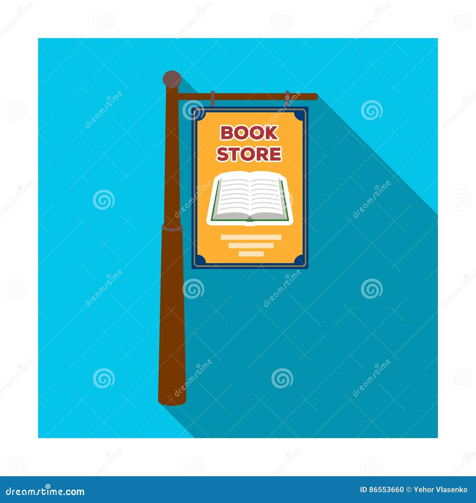 Bookstore signage ikona w mieszkanie stylu odizolowywającym na białym tle Biblioteki i bookstore symbolu zapasu wektor