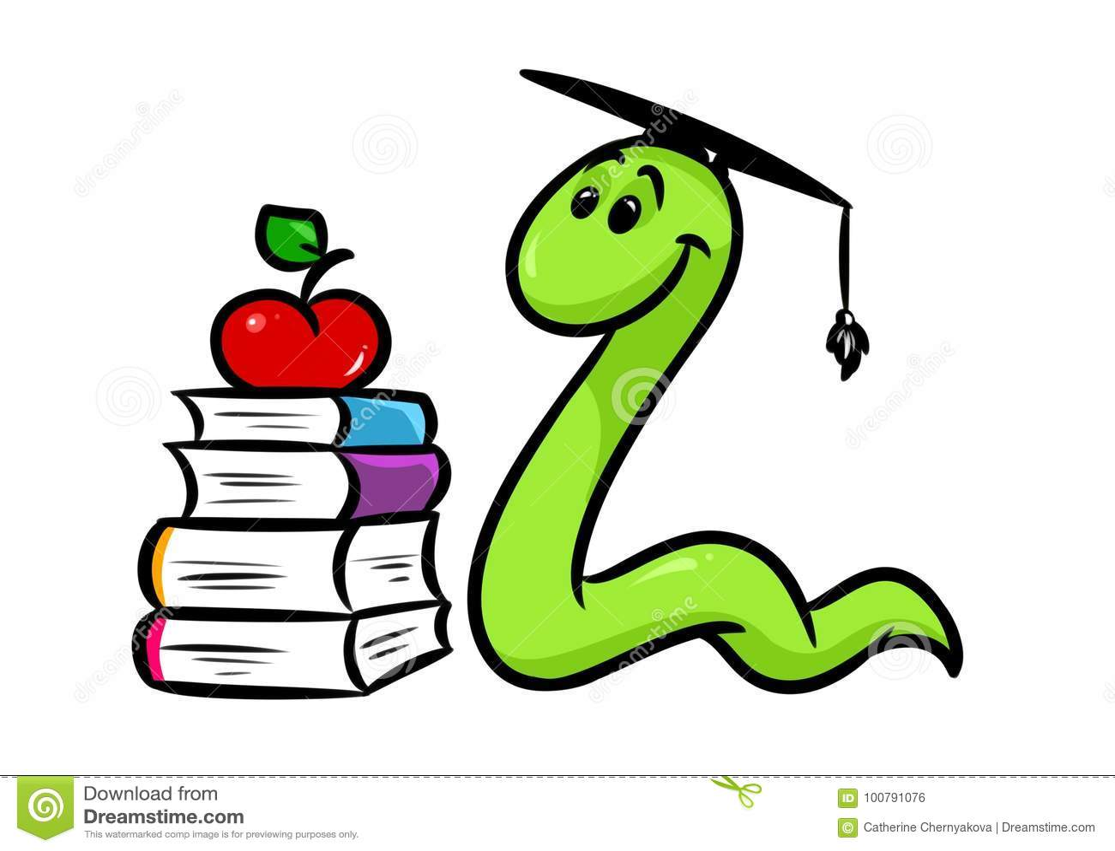 Bookworm Book Teaching Cartoon Stock Illustration Illustration Of