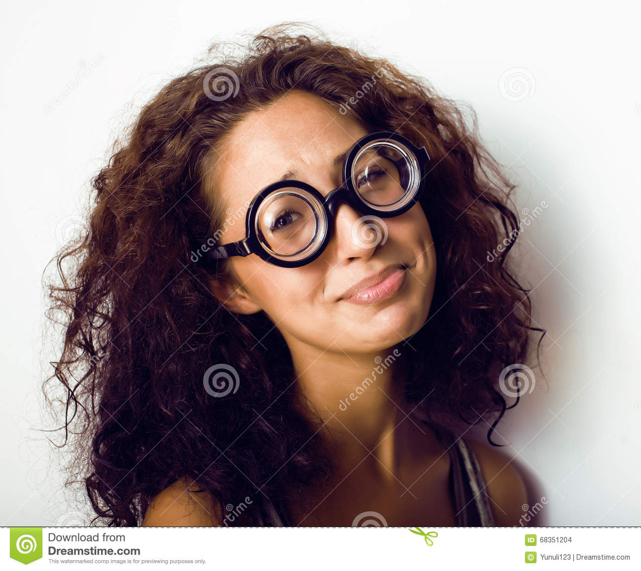Bookworm Cute Young Woman In Glasses Curly Hair Teenage Stock