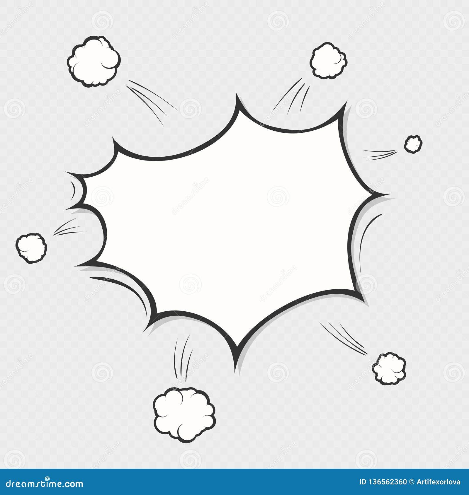 Boom d explosion de bande dessinée sur le fond transparent Symbole de nuage de bulle de la parole de bande dessinée Objet d art d