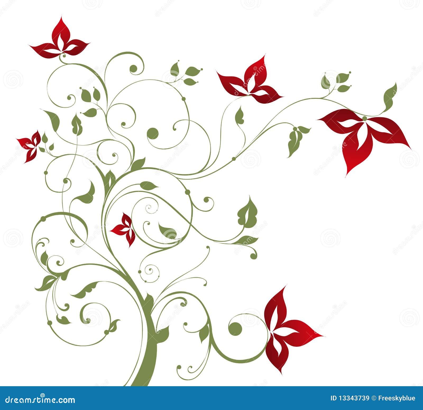 Boom en rode bloem