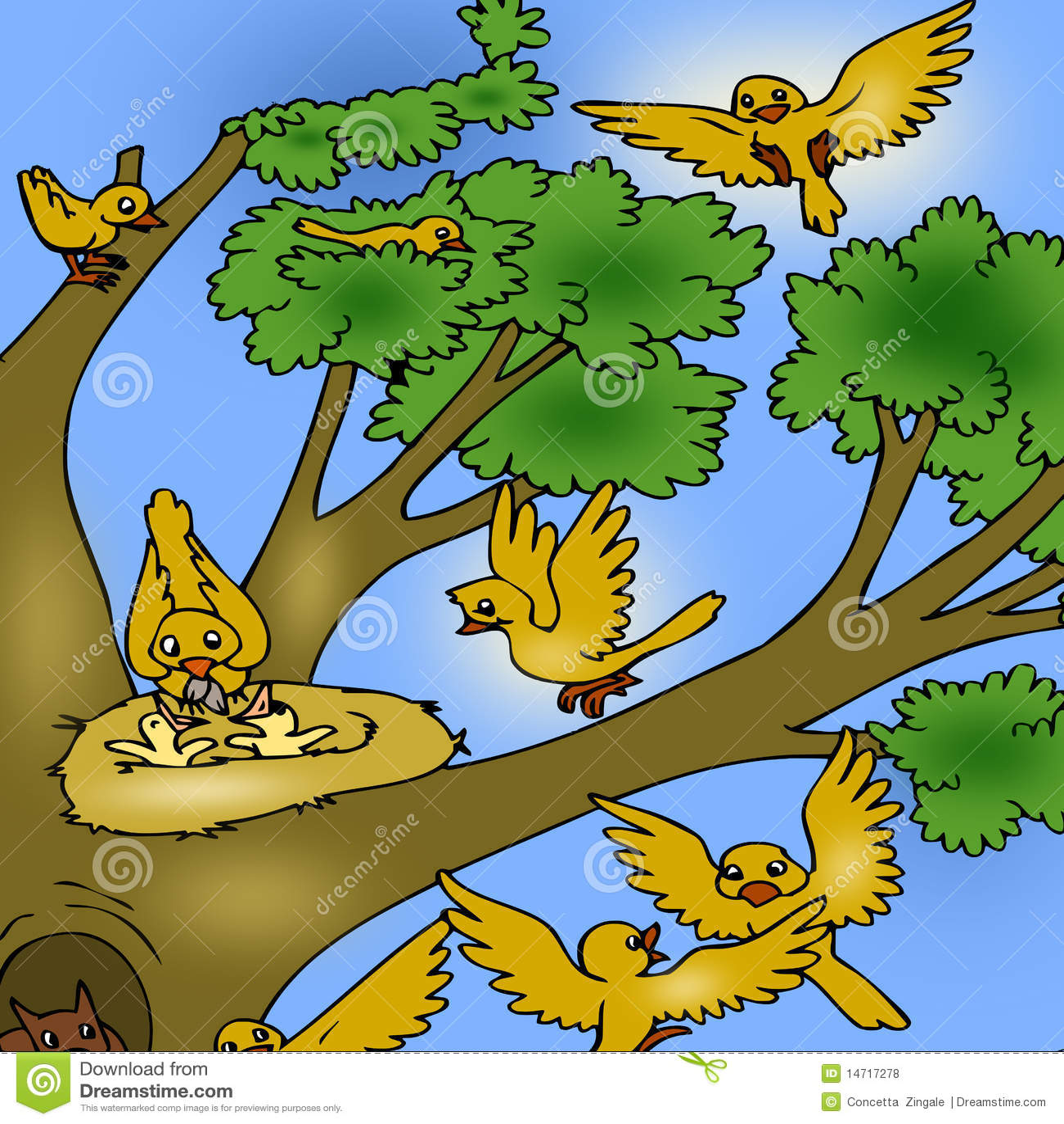 Boom met vogels