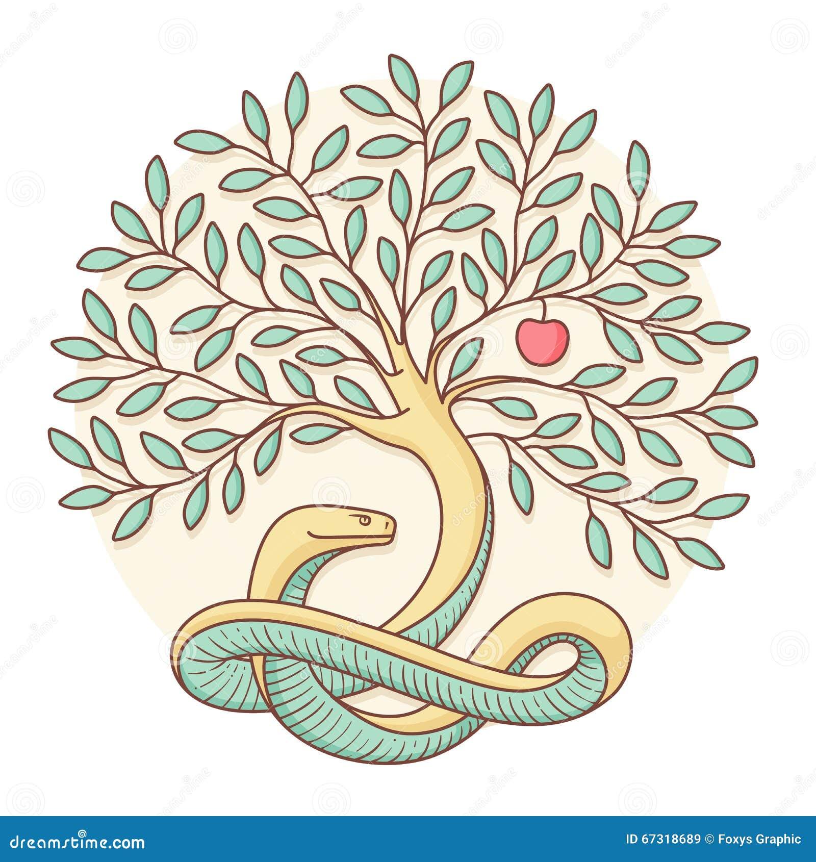 Boom van de kennis van goed en kwaad met slang en appel Kleurrijk ontwerp Vector illustratie