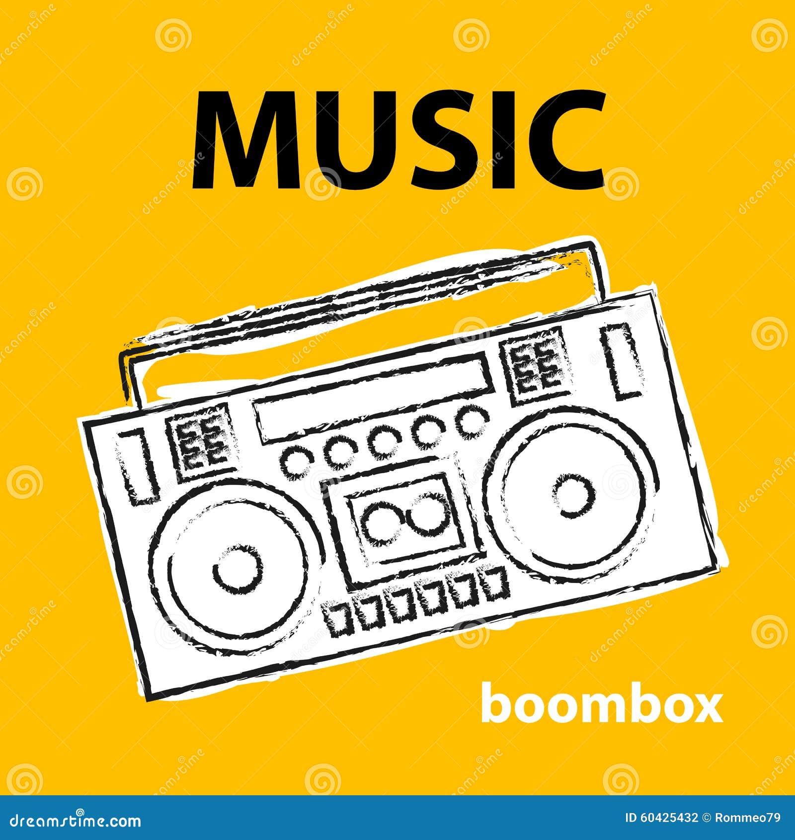 Boombox, Vector, Dibujo, Ejemplo, Retro, Bosquejo Ilustración del ...