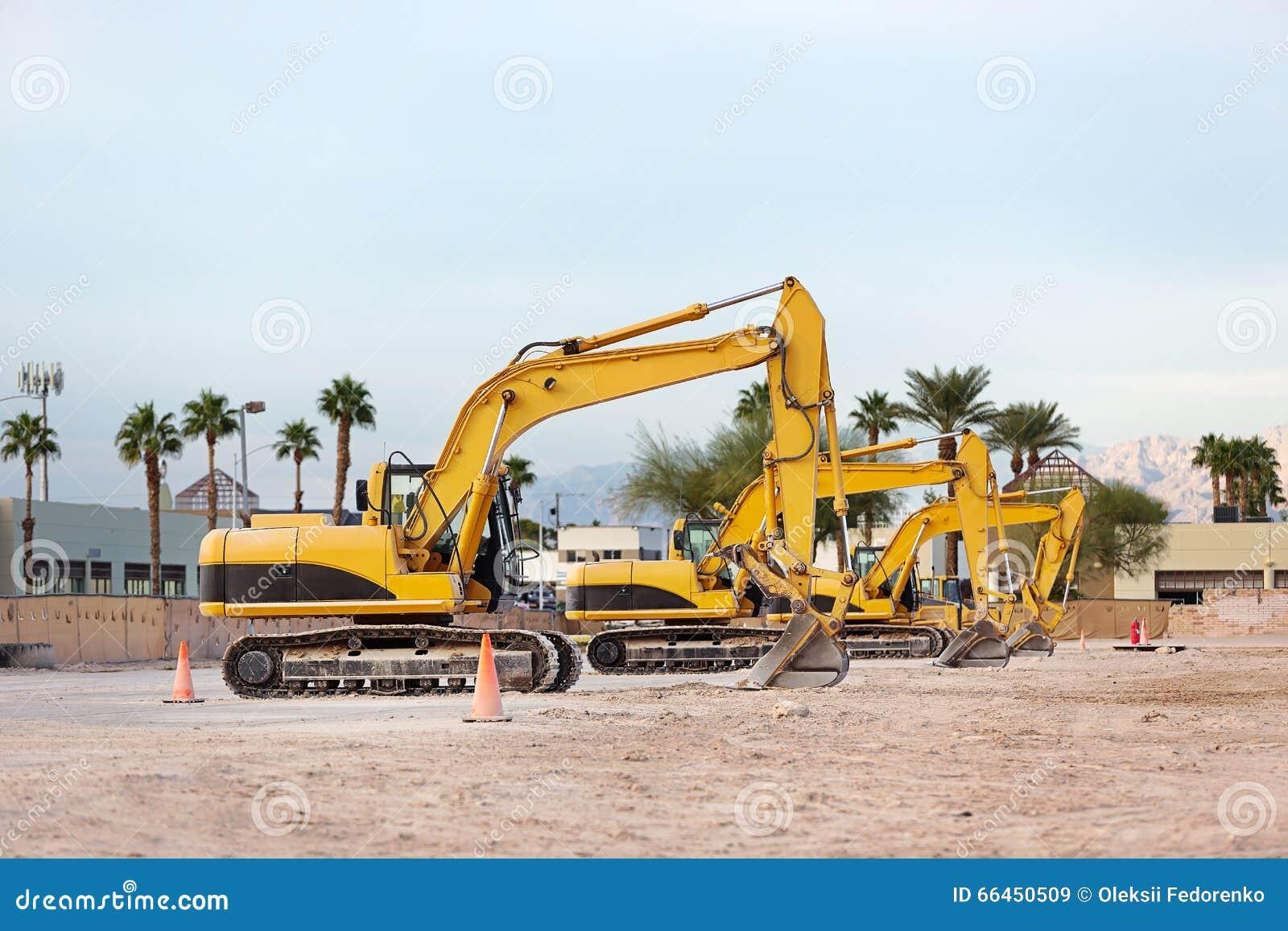 Boomgraafwerktuigen bij bouwwerf