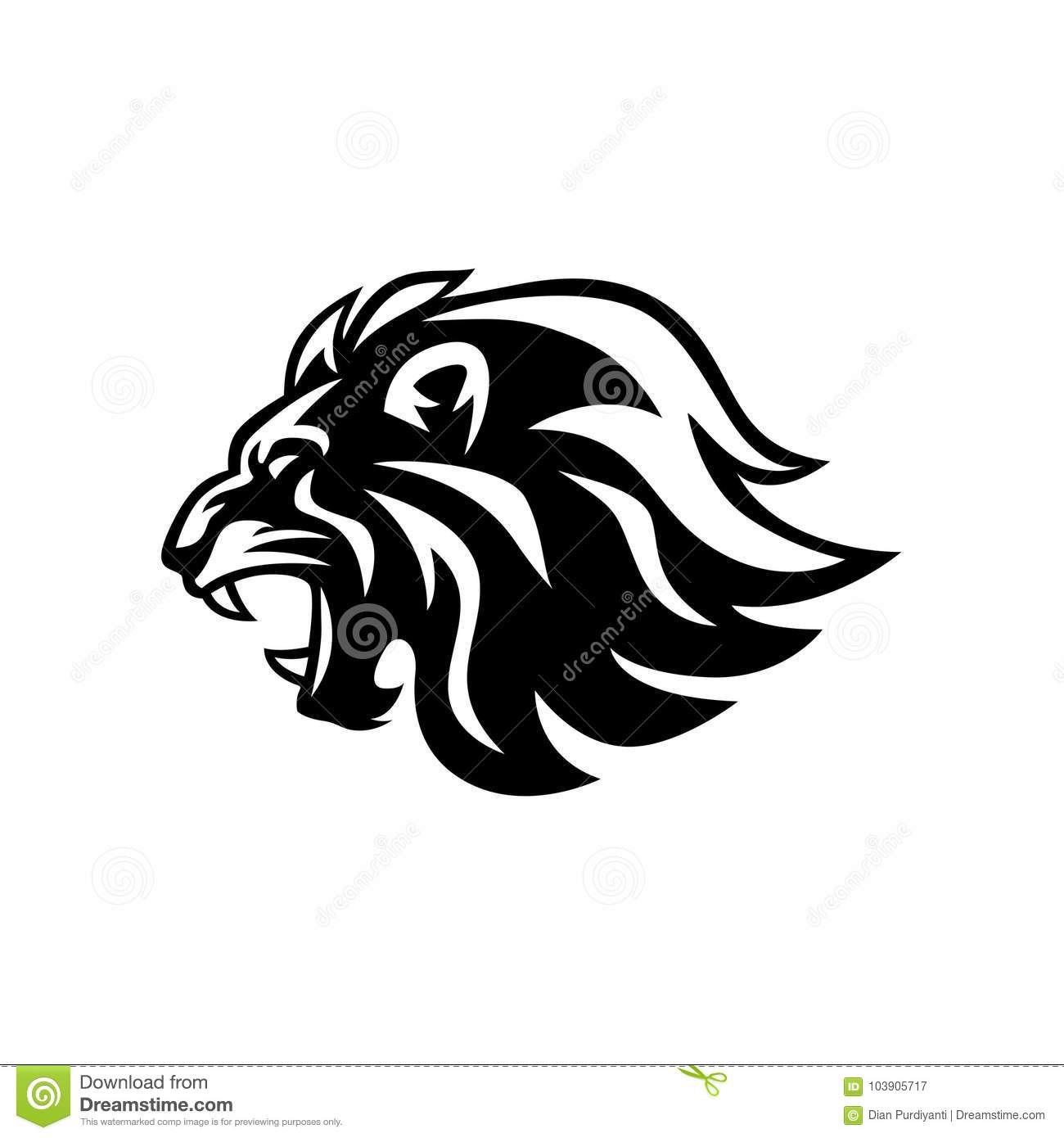 Boos Brullend Lion Head Black And White Vectorlogo Design