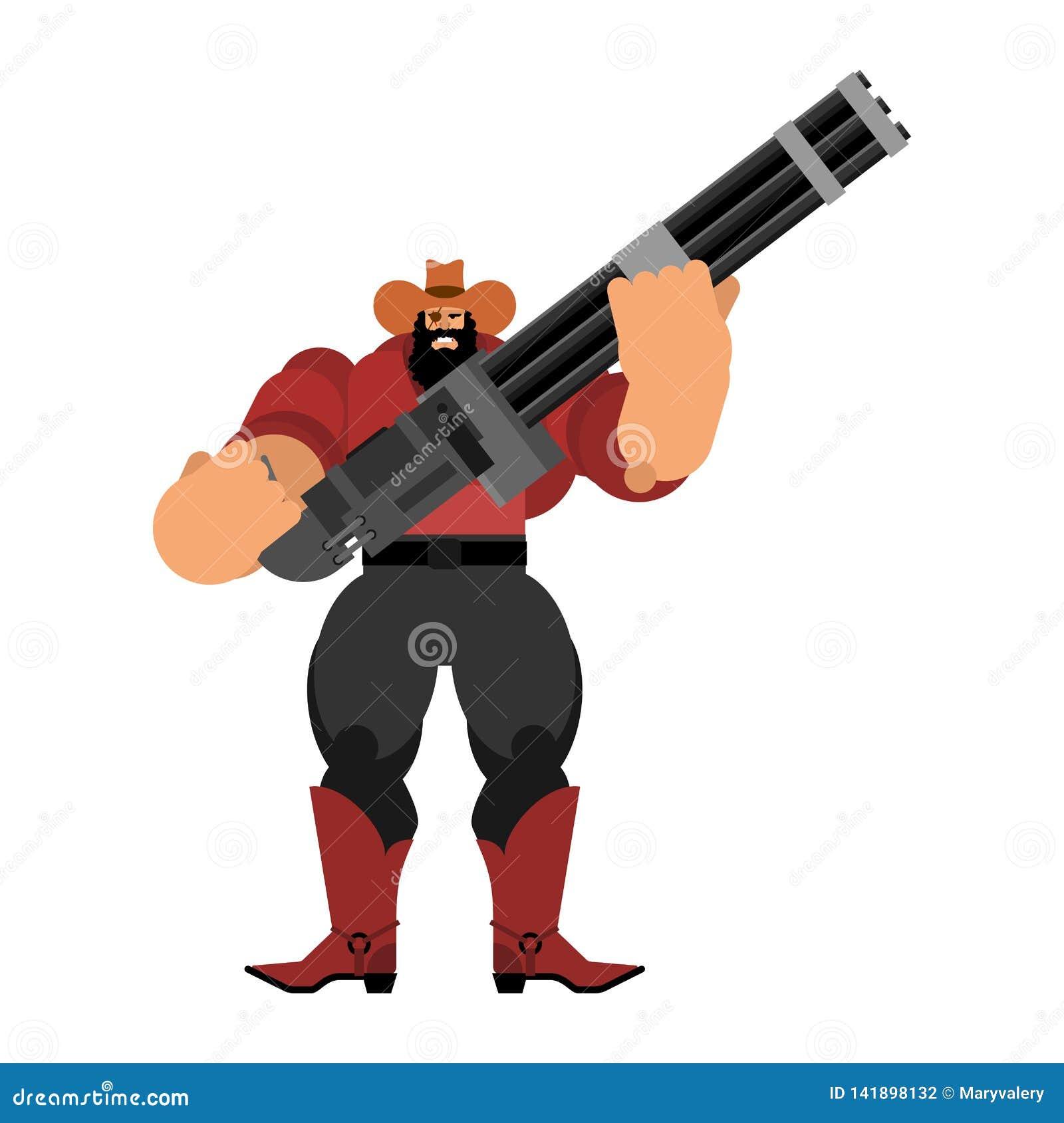 Boos Cowboy en Minigun-kanon De Bandiet van Wilde Westennen gunfighter Westelijke Mens