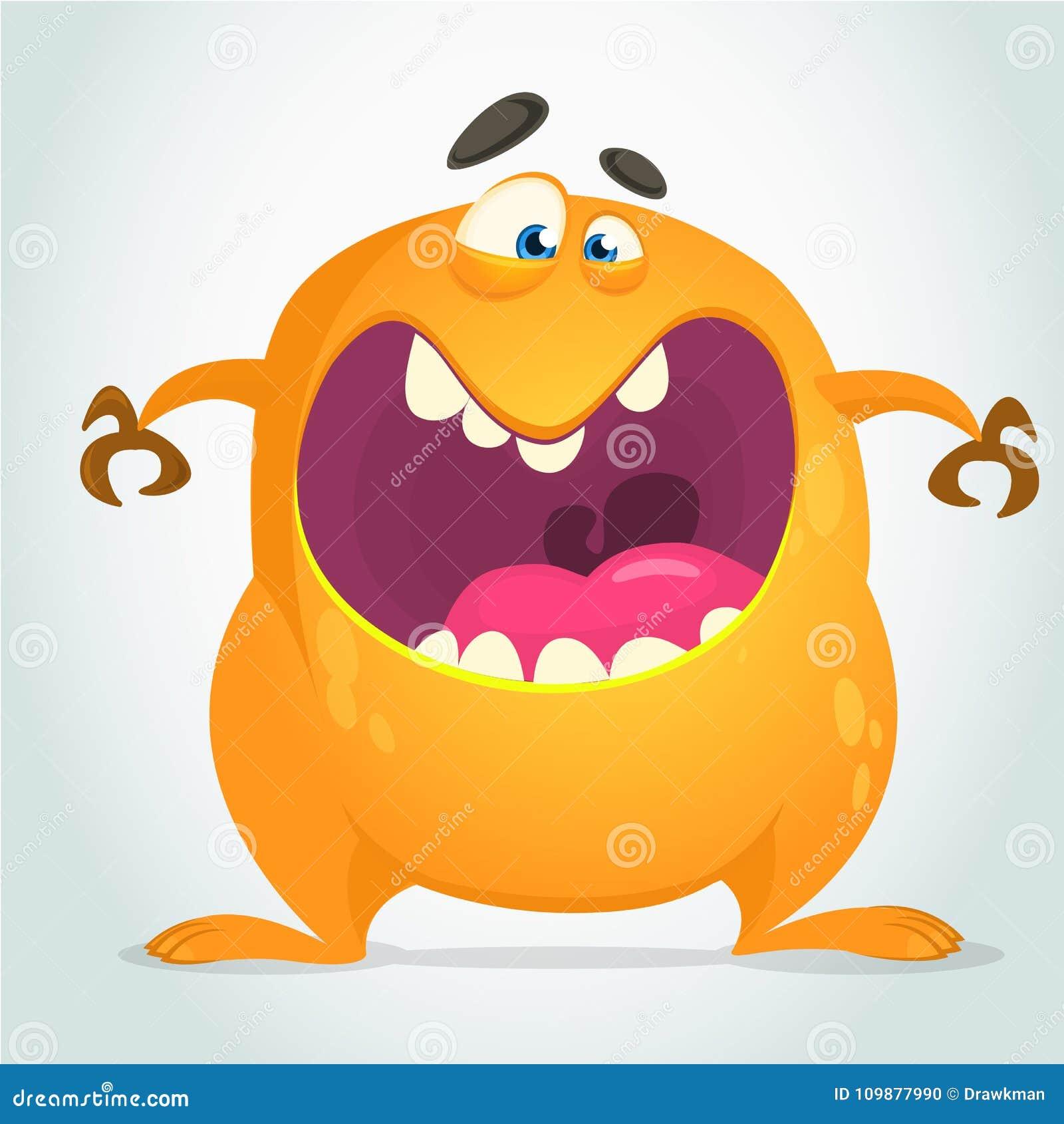 Boos koel beeldverhaal vet monster Oranje vectormonsterkarakter