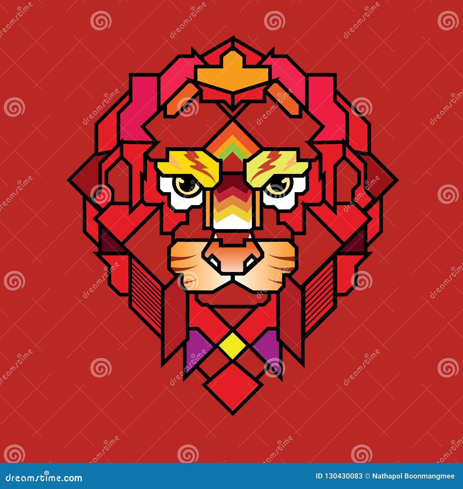 Boos Lion Head Logo, Teken, Vectorontwerp, Illustratie, Templa
