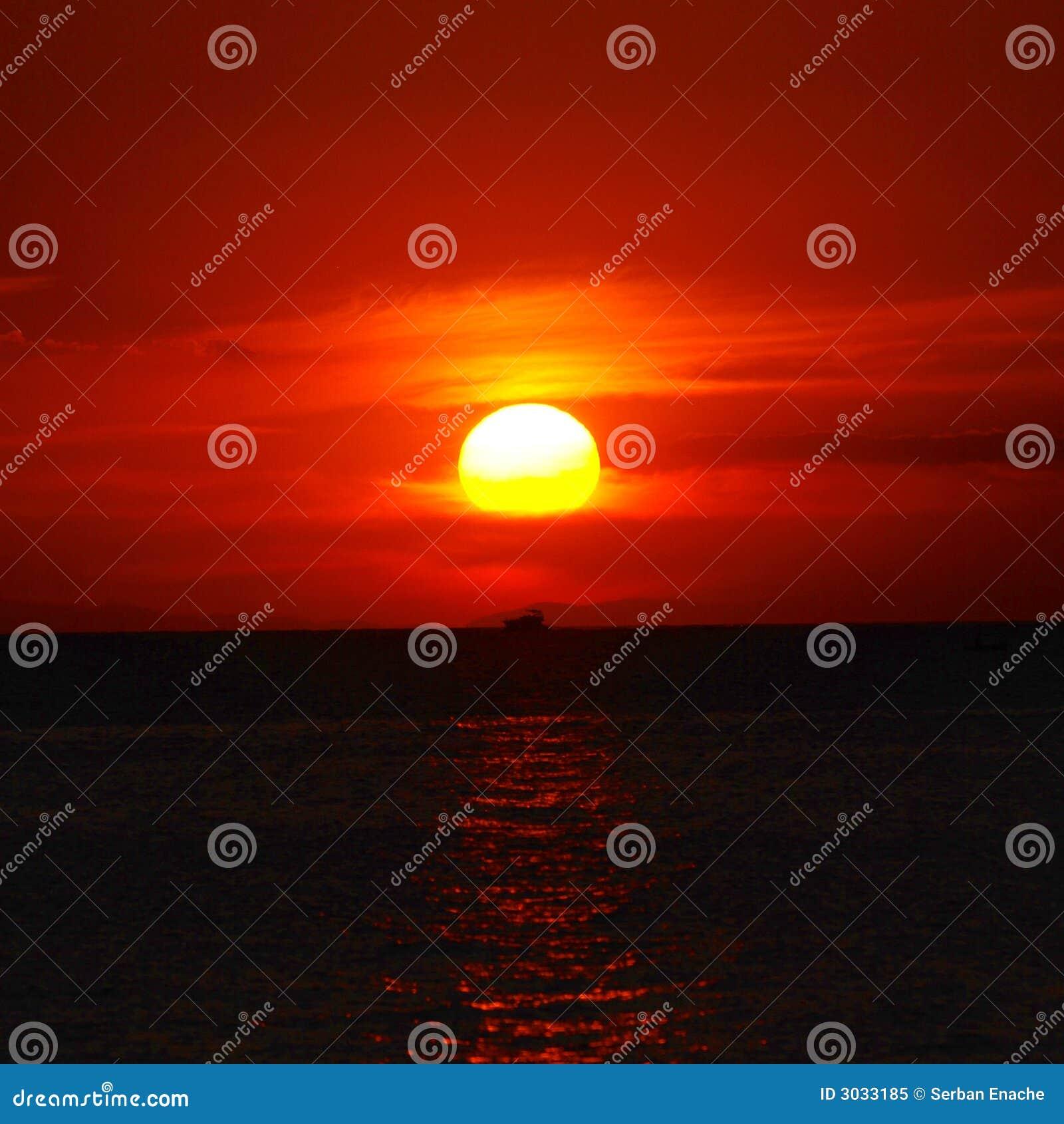 Boot & zonsondergang