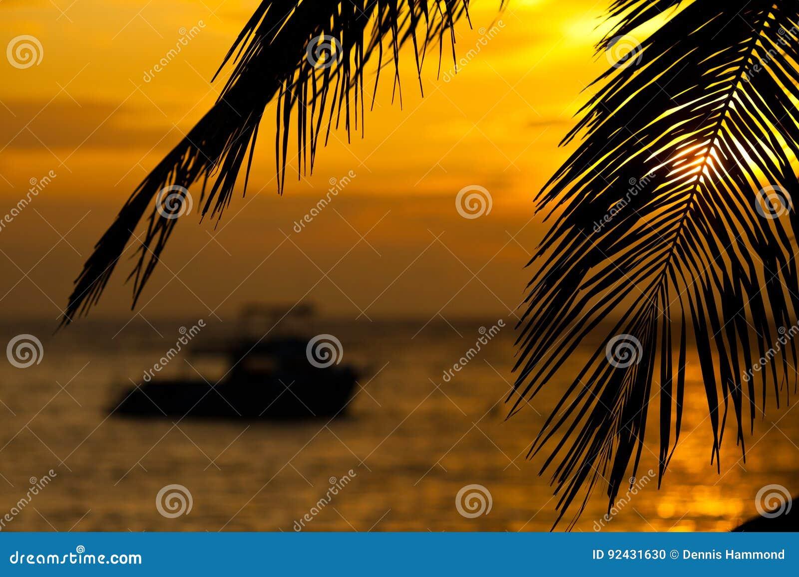 Boot bei Sonnenaufgang gestaltet durch Kokosnussniederlassungen
