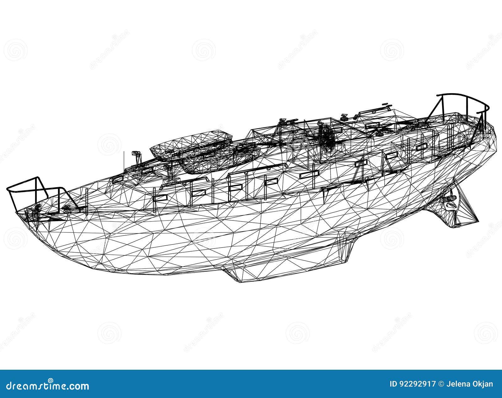 """Boot blauwdruk†""""3D perspectief"""