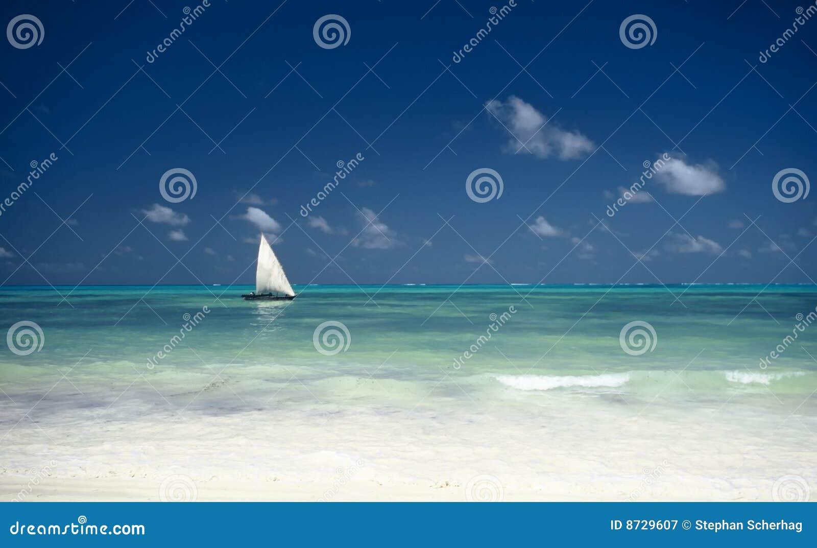 Boot en Oceaan, Zanzibar, Tanzania
