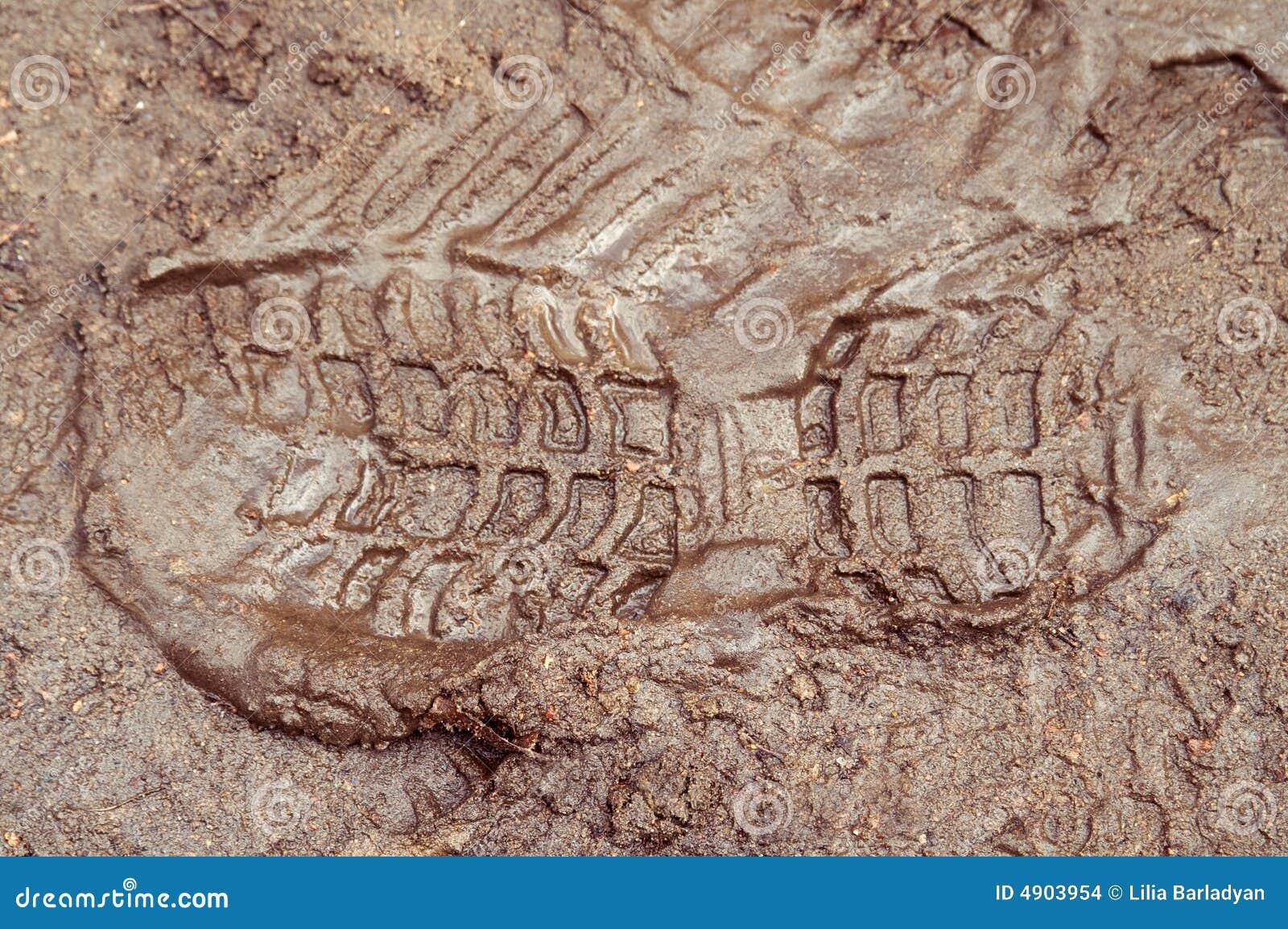 Boot print in brown mud