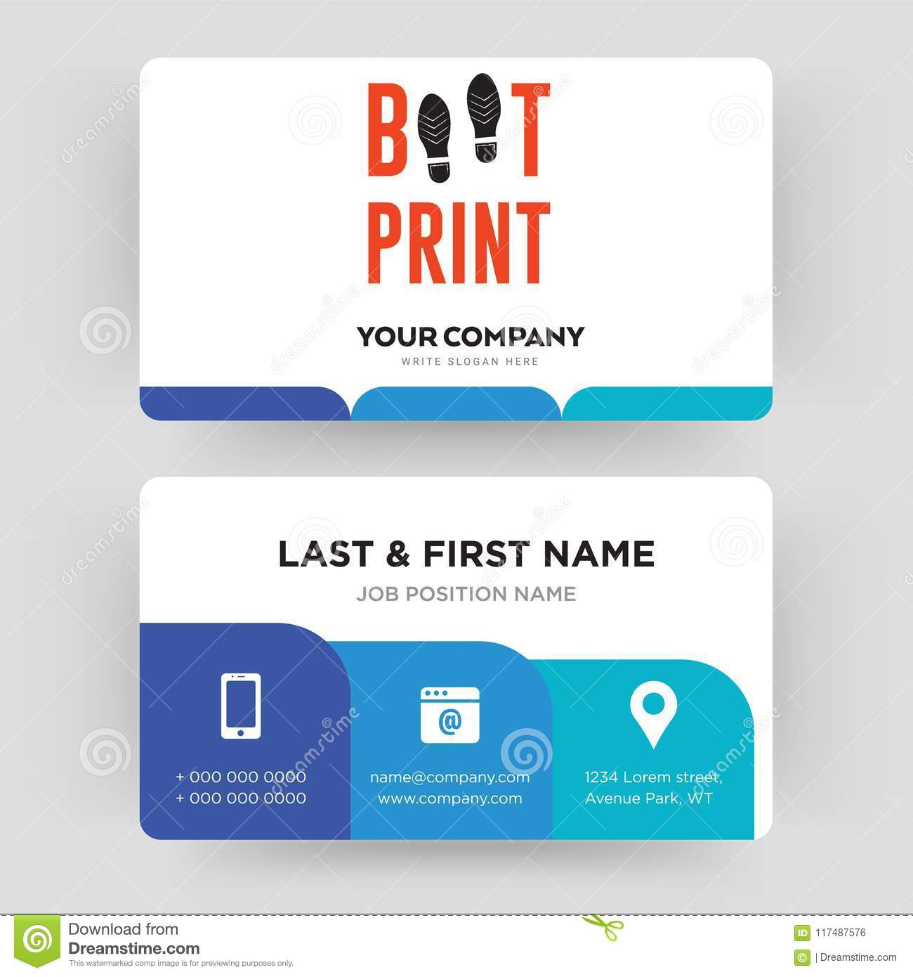 Boot print business card design template visiting for your company download boot print business card design template visiting for your company stock photo image friedricerecipe Images