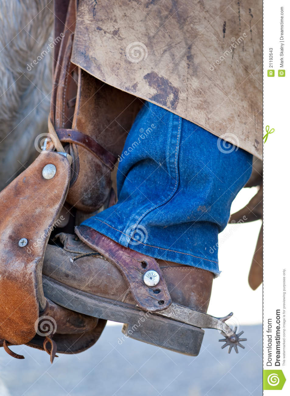 Boot with spur in the saddle