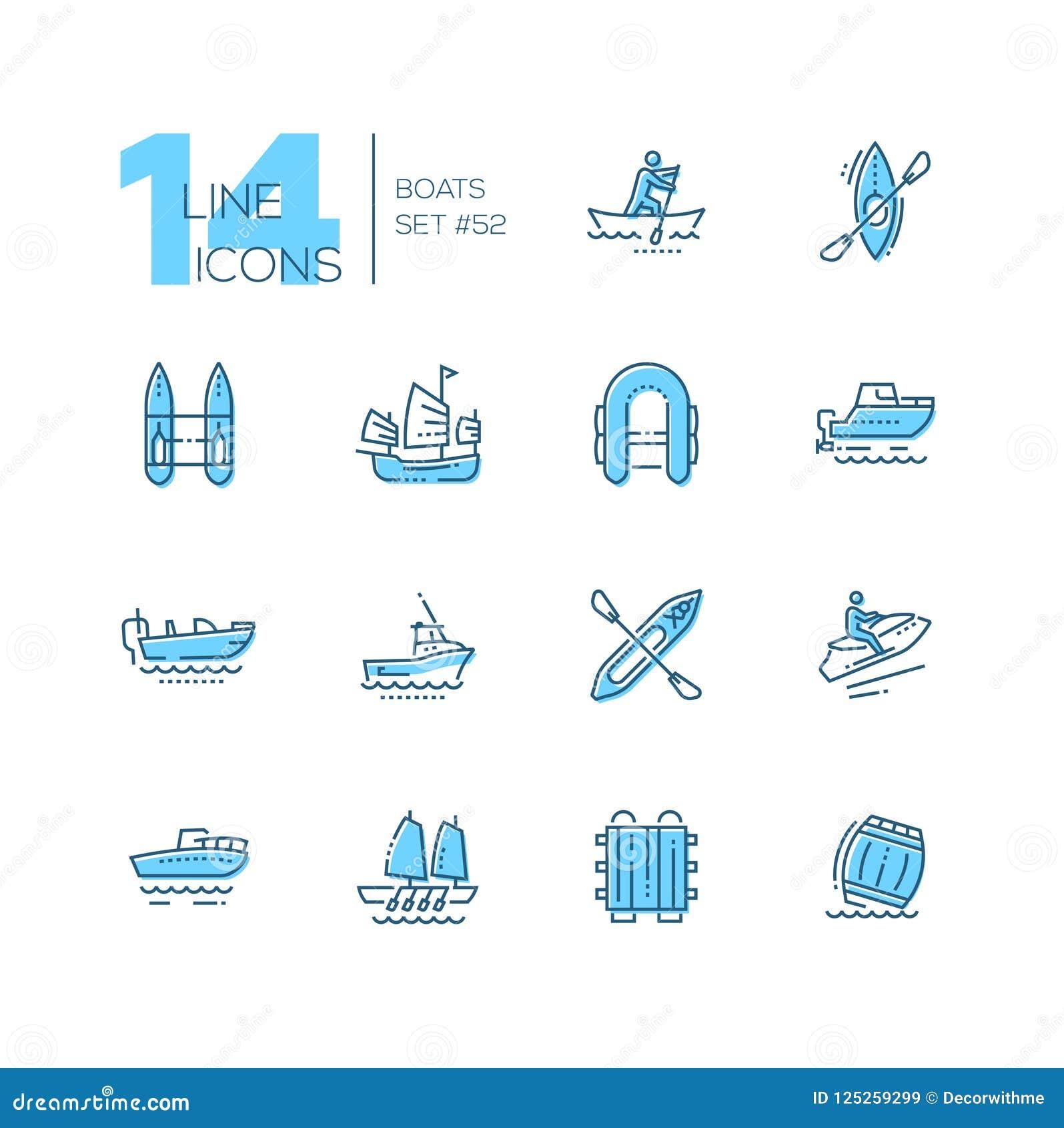 Boote - moderne dünne Linie Designikonen eingestellt
