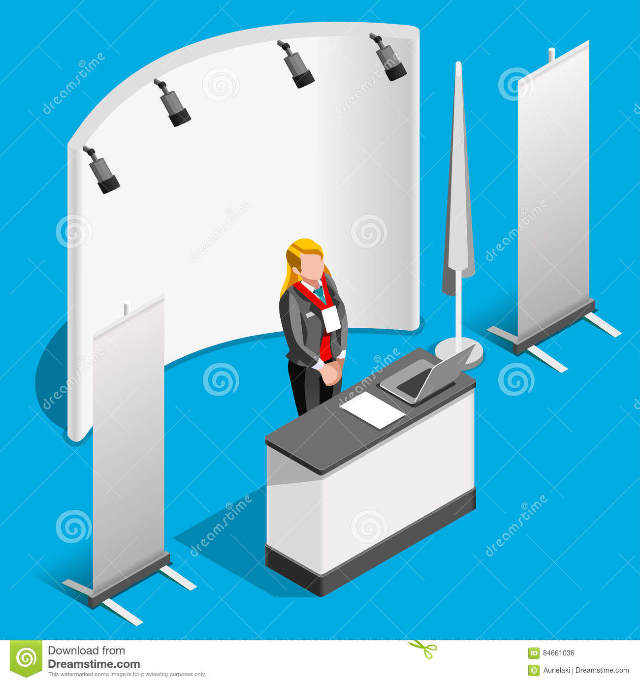 Exhibition Stand Design Illustrator : Booth stand d exhibition isometric people vector