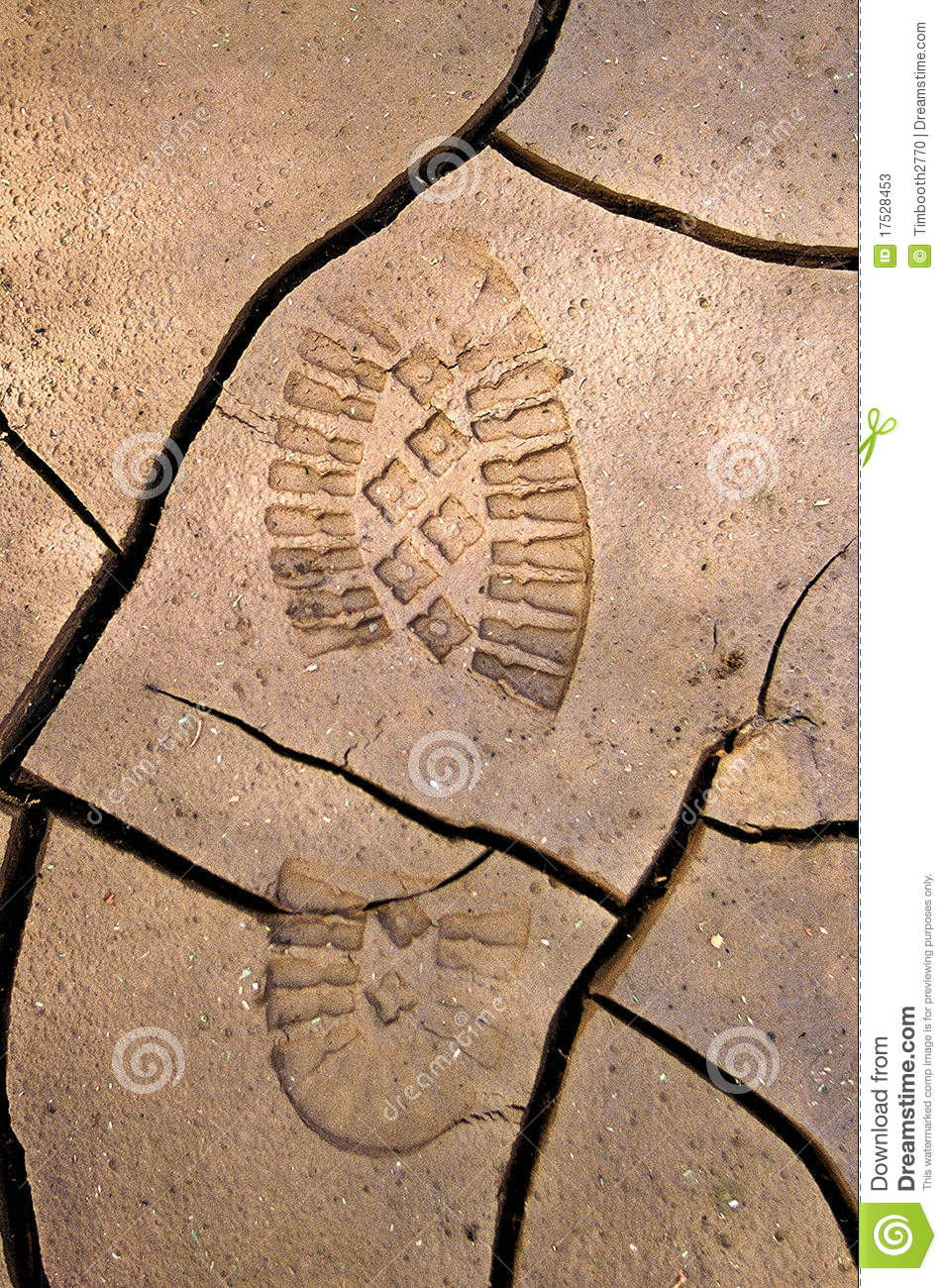 Bootprint in cracked earth