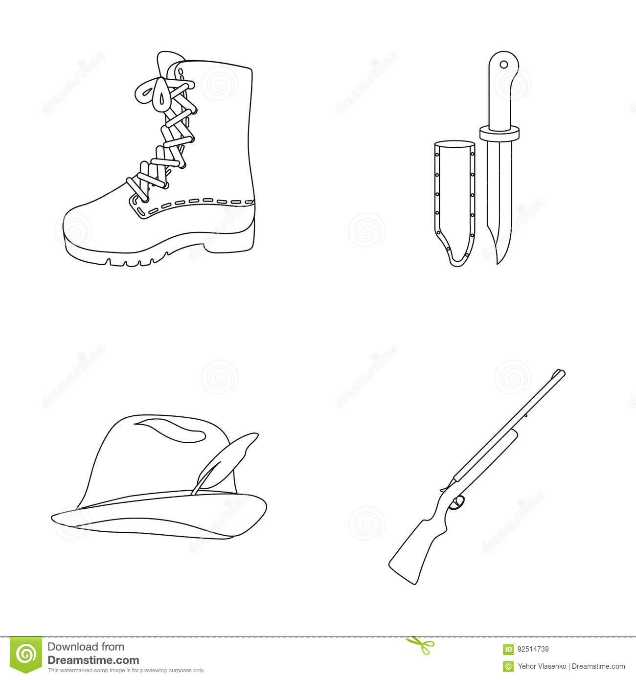 Boots knife with a cover gun hat with a feathernting set boots knife with a cover gun hat with a feathernting set collection icons in outline style vector symbol stock biocorpaavc Images