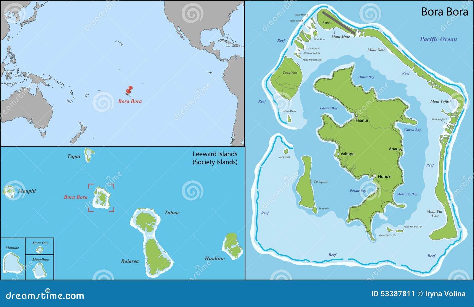 Bora bora map stock vector. Illustration of silhouette - 53387811